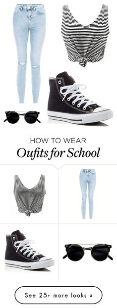 """""""School"""" by s42d9 on Polyvore featuring New Look and Converse"""