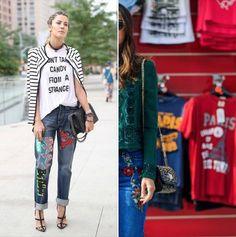Le #jean brodé remplacerait-il le jean patchwork ?  #mode #fashion