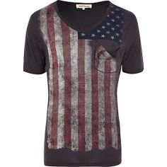 BLACK AMERICAN FLAG PRINT DISTRESSED T-SHIRT