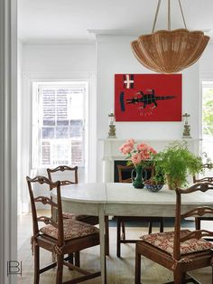 Beata Heuman, Nantucket Home, Interior Design Companies, Painted Floors, The Ranch, Dining Table, Dining Rooms, Wicker, Home Decor