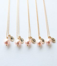 Set of 4 5 Bridesmaid Gifts Peach Swarovski Pearl by petitformal, $49.40