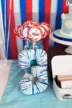 Boys Airplane Themed Birthday Party Table Decoration Ideas