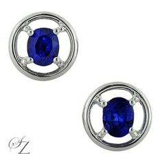 These lovely royal blue Tanzanite ovals take center stage set in a style all of their own. A super pair of stud earrings with a bit of a difference.