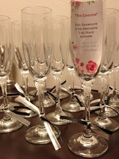 Champagne glass with a message of how to make a drink.