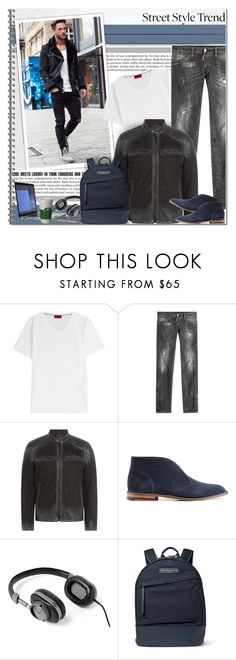 """""""Street Style Trend male"""" by alves-nogueira ❤ liked on Polyvore featuring HUGO, Dsquared2, Belstaff, Ludwig Reiter, Want Les Essentiels de la Vie, mens, men, men's wear, mens wear and male"""