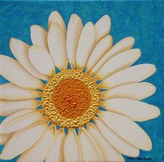 SALE! Daisy, Original acrylic painting by the artist, 12x12 in. Texture #Contemporary $70