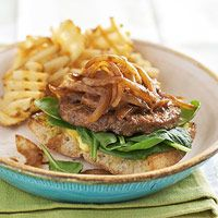 Open-Face Veg Burgers with Sauteed Onions (olive oil, sweet onion, frozen veg burger, mayo, mustard, ciabatta bread, baby spinach leaves, steak sauce) (329 calories per serving, serves 4)