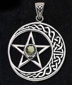 Moldavite Celtic Moon & Pentacle Pendant Magical Jewelry, Pagan Jewelry, Wiccan, Magick, Native American Jewellery, Traditional Witchcraft, Celtic Designs, Amulets, Pentacle