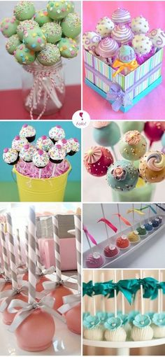 Must have Cakepops at Payton's birthday party! Cakepops, Cake Pop Displays, Macaron, Cute Cakes, Mini Cakes, Cakes And More, Cupcake Cookies, Let Them Eat Cake, Beautiful Cakes
