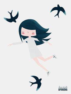 Swallow girl por Apanona en Etsy