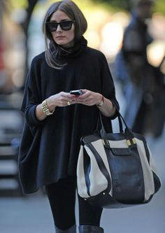 Olivia Palermo looking chic in a black poncho Estilo Olivia Palermo, Olivia Palermo Lookbook, Looks Style, Style Me, Bcbg, Look Fashion, Womens Fashion, Fashion Blogs, Ethical Fashion