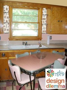 1950s knotty pine kitchen | Retro kitchen. Love the pink and gray kitchenette and the knotty pine ...