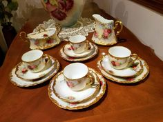 Limoges Hand Painted Rose Tea Chocolate Coffee Set, French Limoges Artist Signed