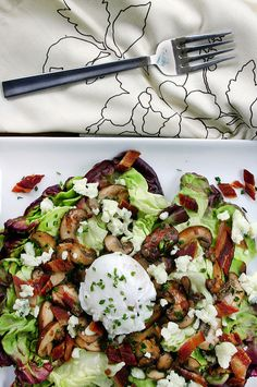 warm mushroom & bacon salad with poached egg and blue cheese