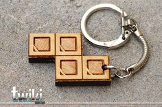 Laser cut and engraved Tetris S wood keyring by TwikiConcept, $12.00