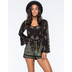 O'Neill X ANNA SUI Harmon Womens Romper ($120) ❤ liked on Polyvore featuring jumpsuits, rompers, sequin romper, sequin rompers, short rompers, patterned romper and short romper