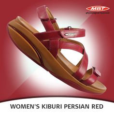 MBT Women's Kiburi Persian Red has leather upper. Soft microfiber lining allows moisture to wick and helps keep your feet cool and dry. Red Sandals, Persian, Moisturizer, Wedges, Cool Stuff, Leather, Shoes, Fashion, Moisturiser