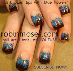 dark brown with blue flowers nail art  http://www.youtube.com/watch?v=F3pmV4_9t-g