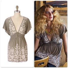 """Anthropologie Homeward Ballad Tunic Top Fluttery burnout jersey and lace print harmonize with a decoratively buttoned empire waist. Tie back detail. By Testament. Polyester, rayon Machine wash 28""""L Excellent condition 10% bundle discount no trades or pp. Anthropologie Tops"""