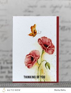 Stamps used: Painted Poppy, Painted Butterflies Bejeweled. - how to watercolor this - see video