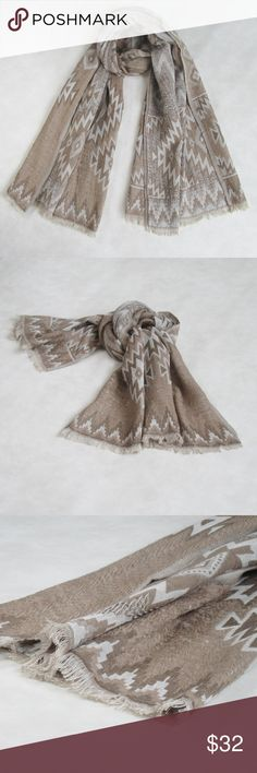 "NWT! Winter WOOL SCARF ; Tan Aztec Design Scarf OVERVIEW: SPECIAL DISCOUNT OFFER One of a Kind; A must for the winter days, beige / tan woven wool scarf with raw edges.    PRODUCT DETAILS:   STYLE # EB-SCV-287  TYPE: OBLONG MATERIAL: 65% Wool; 35% Cotton, extremely soft DIMENSIONS: L 72"" x W 36""  WASH CARE: Dry clean Only 7 Artisan Street ® Accessories Scarves & Wraps"