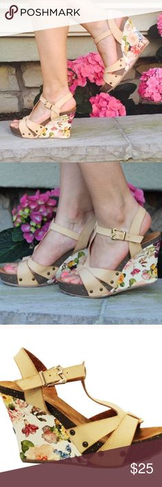 Floral Strappy Wedge High Heel Sandals ❗️PRICE IS FIRM for all items under $25❗️🌺Brand new in box. 🌺feel free to contact me if you have any questions. 🌺Shoe runs a WHOLE size small. Order 1 size larger🌺 Feel free to ask questions!🌺www.thefairyden.com🌺 The Fairy Den Shoes Wedges