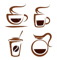 Set of coffee cups icons vector by baldyrgan - Image #1019133 ...