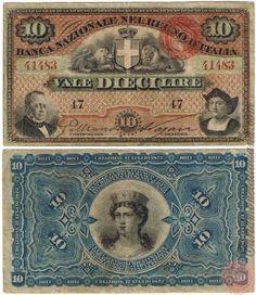10 LIRE - 1872 Money Notes, Masonic Temple, World Coins, Lus, History, Retro, Vintage, Italian Lira, Bench Seat