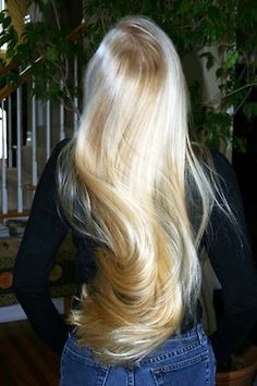 this woman's hair is insane. so rare for an adult to have hair this naturally blonde