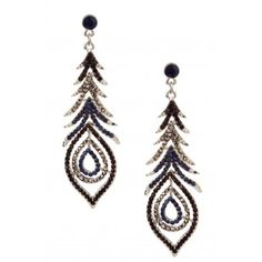 Olivia Welles Peacock feathered Statement Earring - Silver