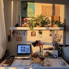 Study Room Decor, Room Ideas Bedroom, Bedroom Inspo, Bed Room, Cute Room Ideas, Cute Room Decor, Indie Room, Pretty Room, Aesthetic Room Decor