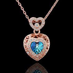 Bijoux colliers cristal d Swarovski et or rose 18KGP * PN559