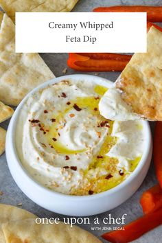 Creamy Whipped Feta Dip - Once Upon a Chef Creamy Whipped Feta Dip<br> Similar to htipiti, the salty and tangy Mediterranean mezze spread, this feta dip is fabulous with toasted pita or veggies. Appetizer Dips, Yummy Appetizers, Appetizer Recipes, Greek Appetizers, Wedding Appetizers, Greek Recipes, Dip Recipes, Cooking Recipes, Feta Cheese Recipes