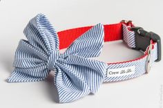 This is such a perfect collar, from Crew La La Blue,Seersucker,Nautical,Bow,Dog,Collar,Pets, Collar, dog, large dog, crew lala, preppy, bowtie, bow tie, girl bow, girl, bow, collar, wedding, small dog, crewlala, bow tie dog collar, wedding dog collar, birthday, birthday dog collar
