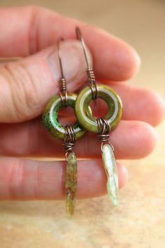 Copper Wrapped Ceramic Hoops with Kyanite by AllowingArtDesigns, $18.00