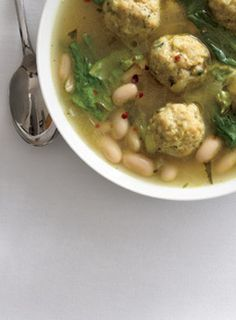#Recipes: Escarole White Bean Soup with Chicken Meatballs.