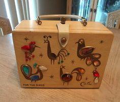 RARE VINTAGE 70s ENID COLLINS OF TEXAS ORIGINAL BOX BAG WOOD PURSE FOR THE BIRDS