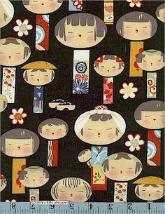 Yui Kokeshi, Black, Alexander Henry    ahenry4944cotton  100% cotton, 44/45 inches wide.  Whimsical Asian print showing adorable oriental children in different sizes. This is on a black background, also available on a pink background. From Alexander Henry. 100% cotton, 44/45 inches wide.