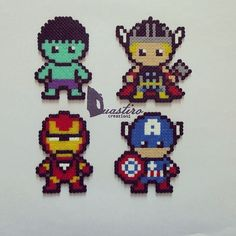 The avengers perler beads by ddralson perler bead diy бисер Hama Beads Design, Diy Perler Beads, Perler Bead Art, Pearler Beads, Melty Bead Patterns, Pearler Bead Patterns, Perler Patterns, Beading Patterns, Pixel Beads