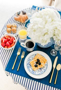 // Blue and white themed brunch.