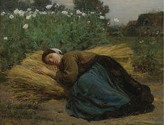 """""""Jeune Moissonneuse Endormie Sur des Gerbes de Ble"""" (1866) By Jules Breton"""