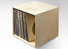 Modular Stackable Modern Vinyl Record Storage Cube White Made in America USA Ohio Cincinnati Baltic Birch Plywood, White Storage, House Inspiration, Cube Storage, Shelving Solutions, Home Decor, Vinyl, Vinyl Record Storage, Stackable