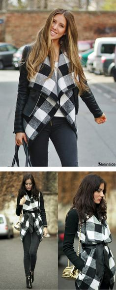 Update your look with this Black White Long Sleeve Plaid Belt Coat .Love classic plaid and street belt coat. See similar fashion at M.SHEIN.com !Free Shipping with 100% Quality Guarantee!