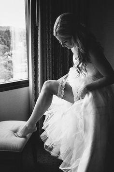 the garter // photo by Paige Jones // http://ruffledblog.com/romantic-oregon-riverside-wedding