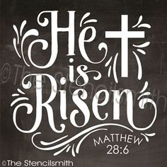He is Risen stencil easter matthew jesus Chri Chalkboard Designs, Chalkboard Art, Chalkboard Border, Chalkboard Doodles, He Has Risen, He Is Risen Sign, Resurrection Day, Christian Quotes, Happy Easter