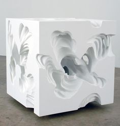 Six erosions to the center from 2007by Daniel Arsham - made of EPS foam, plaster, paint