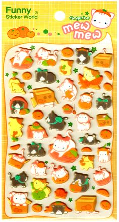 Funny Sticker World Orange Kitties Puffy Sticker Sheet