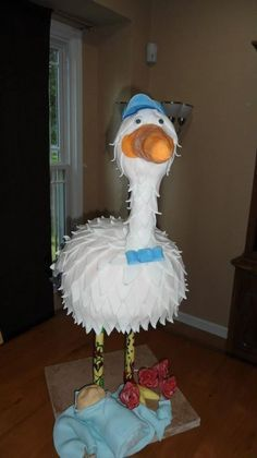 Boy stork baby shower cake