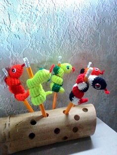 Halloween snake pencil toppers, crochet snake wrapped around the pencil, Halloween goodies , amigurumi snake, crochet animals, creepy gifts