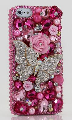 Fuchsia Butterfly Design bling case made for iPhone 5 / 5S. iPhone 6s/ 6s Plus, Samsung Galaxy (S3, S4, S5), Samsung Galaxy Note (2, 3, 4, 5), Nokia Lumia, Black Berry, HTC, MotoRola, LG and other devices. Get this Stylist Crystal bling phone case for yours or  your family as Christmas gift > http://luxaddiction.com/collections/3d-designs/products/fuchsia-butterfly-design-style-398